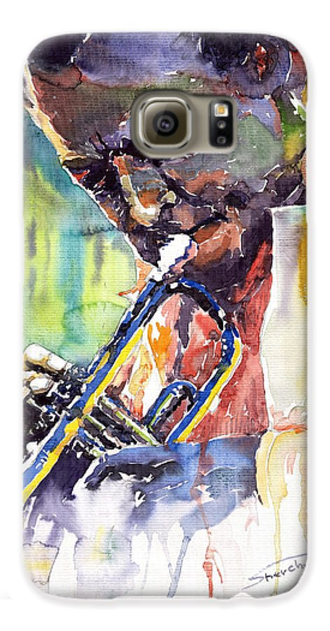 Jazz Miles Davis Music Musiciant Trumpeter Portret Galaxy S6 Case featuring the painting Jazz Miles Davis 9 Blue by Yuriy Shevchuk