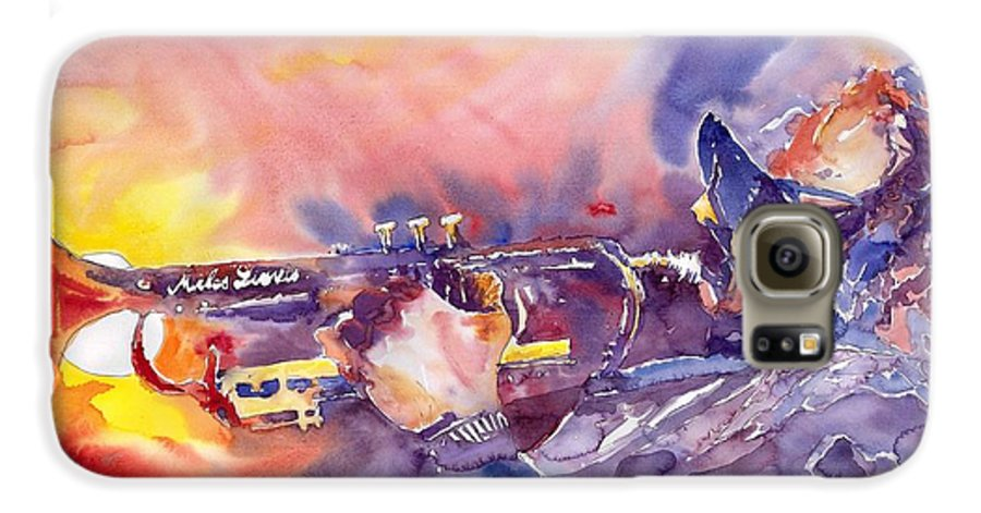 Jazz Watercolor Miles Davis Music Musician Trumpeter Figurative Watercolour Galaxy S6 Case featuring the painting Jazz Miles Davis Electric 1 by Yuriy Shevchuk