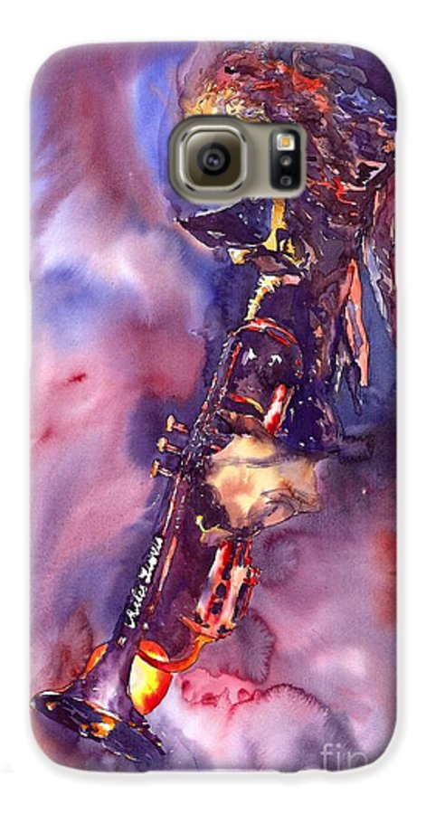 Davis Figurative Jazz Miles Music Musiciant Trumpeter Watercolor Watercolour Galaxy S6 Case featuring the painting Jazz Miles Davis Electric 3 by Yuriy Shevchuk