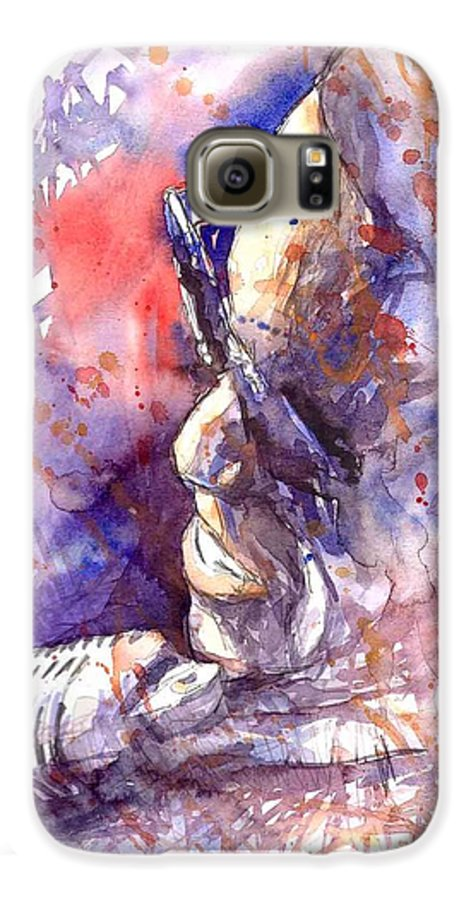 Portret Galaxy S6 Case featuring the painting Jazz Ray Charles by Yuriy Shevchuk