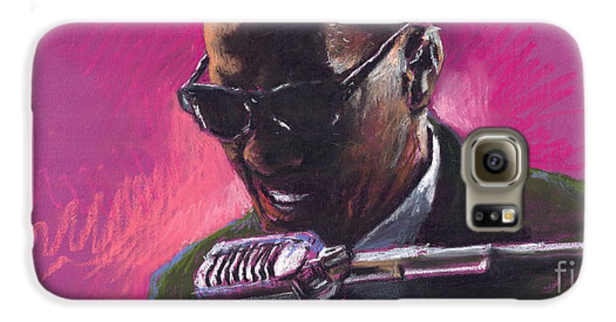 Jazz Galaxy S6 Case featuring the painting Jazz. Ray Charles.1. by Yuriy Shevchuk