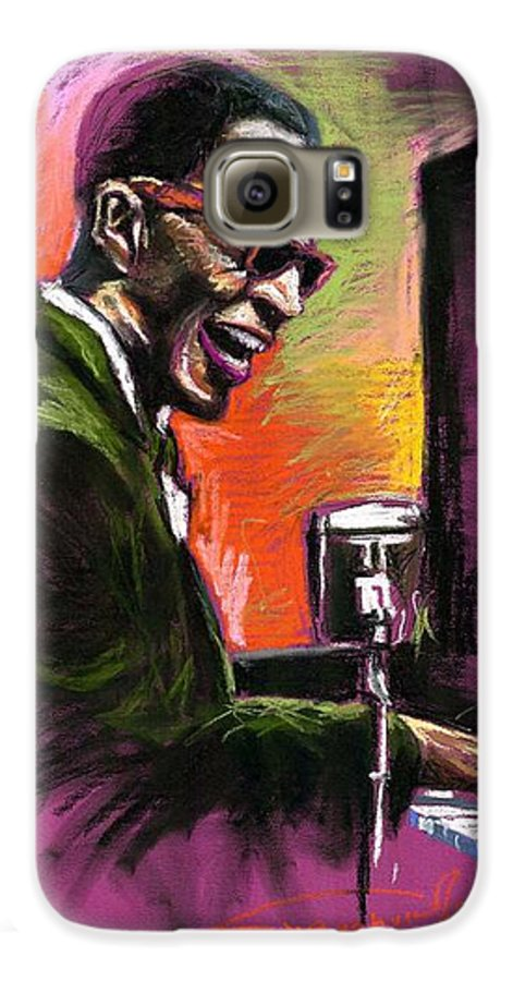 Galaxy S6 Case featuring the painting Jazz. Ray Charles.2. by Yuriy Shevchuk