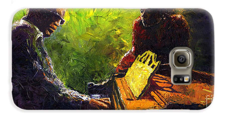 Jazz Galaxy S6 Case featuring the painting Jazz Ray Duet by Yuriy Shevchuk