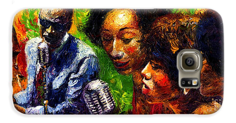 Jazz Galaxy S6 Case featuring the painting Jazz Ray Song by Yuriy Shevchuk