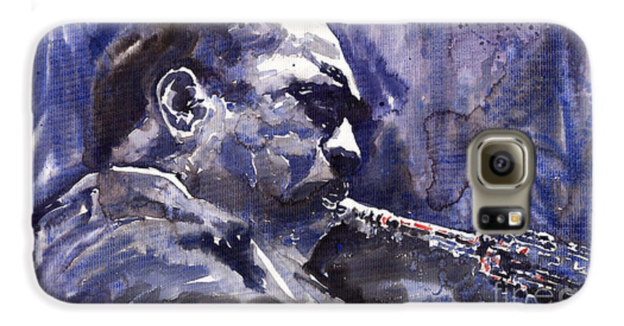 Jazz Galaxy S6 Case featuring the painting Jazz Saxophonist John Coltrane 01 by Yuriy Shevchuk