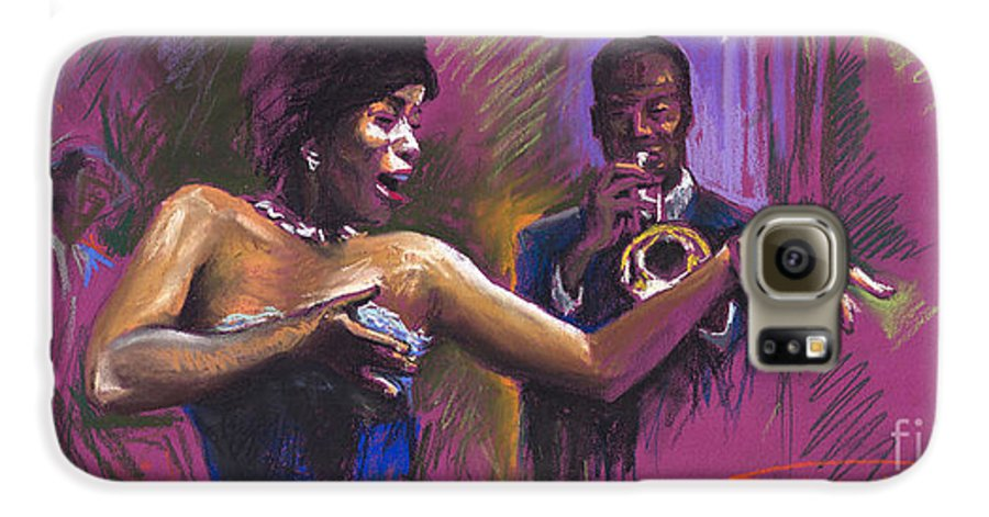 Jazz Galaxy S6 Case featuring the painting Jazz Song.2. by Yuriy Shevchuk