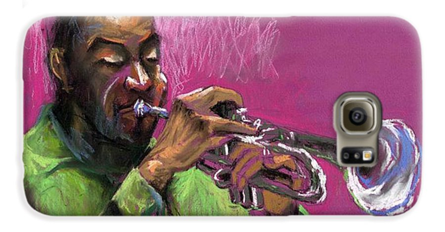 Jazz Galaxy S6 Case featuring the painting Jazz Trumpeter by Yuriy Shevchuk
