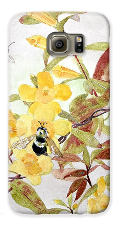 Jasmine Galaxy S6 Case featuring the painting Jessamine Bee Mine by Jean Blackmer