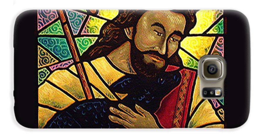 Jesus Galaxy S6 Case featuring the painting Jesus The Good Shepherd by Jim Harris