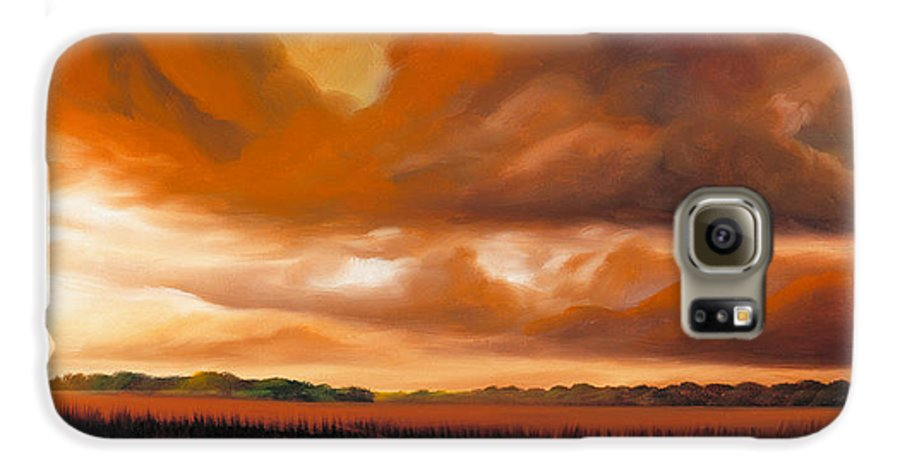 Clouds Galaxy S6 Case featuring the painting Jetties On The Shore by James Christopher Hill
