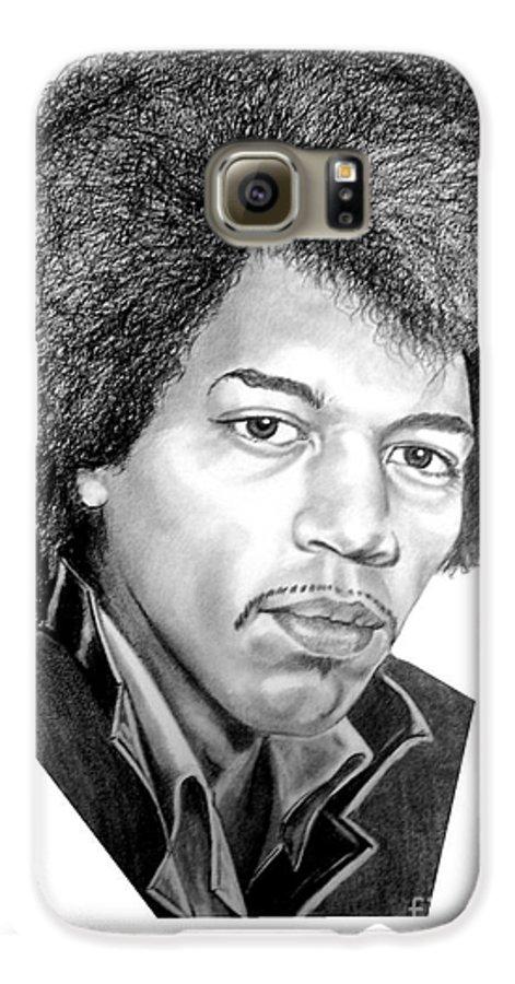 Jimmi Hendrix Galaxy S6 Case featuring the drawing Jimmi Hendrix By Murphy Art. Elliott by Murphy Elliott