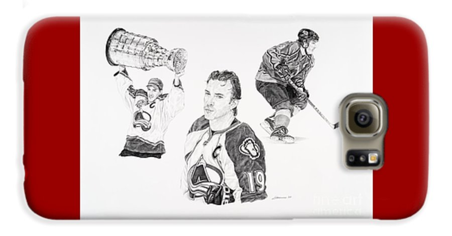 Hockey Galaxy S6 Case featuring the drawing Joe Sakic by Shawn Stallings