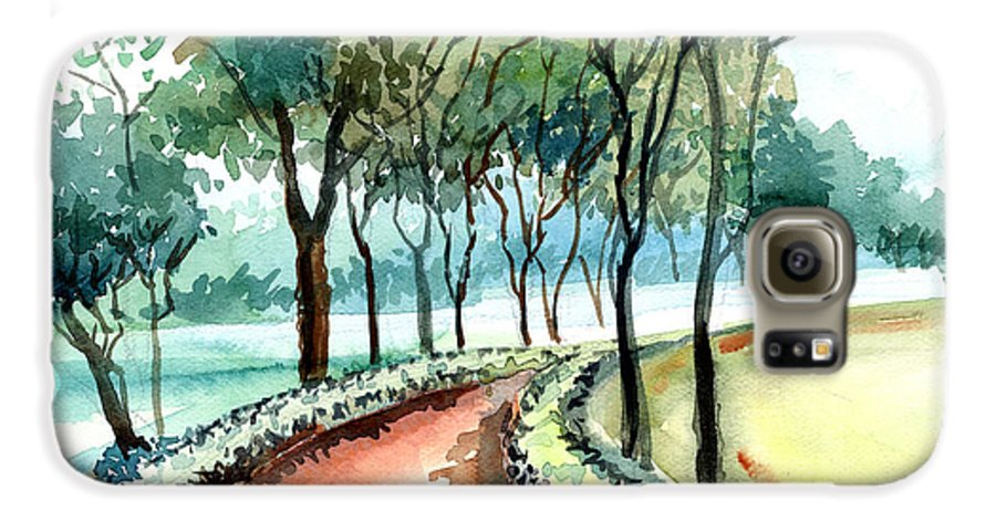 Landscape Galaxy S6 Case featuring the painting Jogging Track by Anil Nene