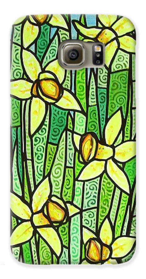 Jonquils Galaxy S6 Case featuring the painting Jonquil Glory by Jim Harris