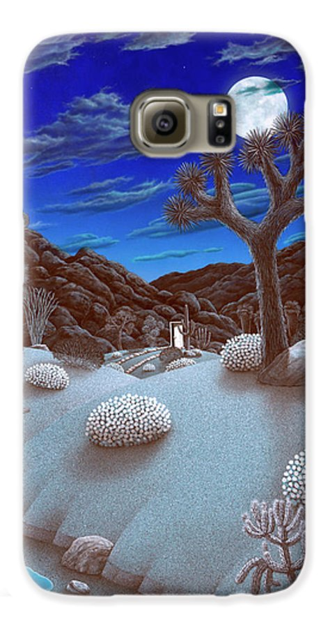 Landscape Galaxy S6 Case featuring the painting Joshua Tree At Night by Snake Jagger