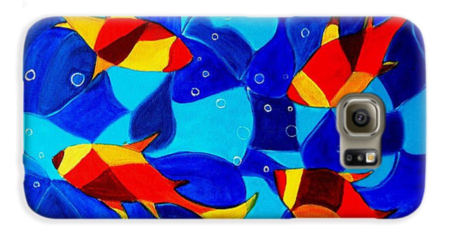 Abstract.acrylic.fish.bubbles.art.painting.modern.contemporary.popblue Red Bubbles Yellow Landscape Galaxy S6 Case featuring the painting Joy Fish Abstract by Manjiri Kanvinde