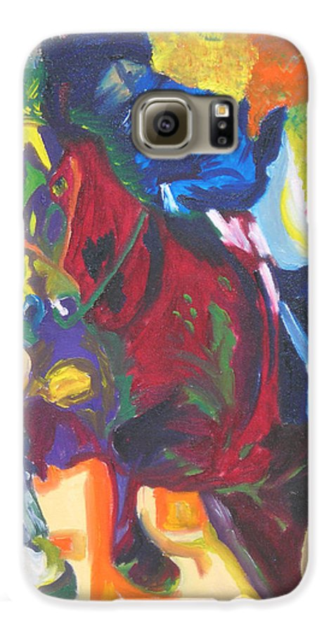 Horse Jumping Galaxy S6 Case featuring the painting Jump Off by Michael Lee