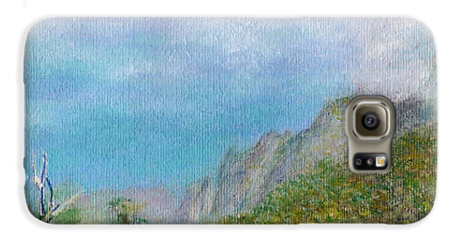 Rainbow Colors Pastel Galaxy S6 Case featuring the painting Kalalau Mist by Kenneth Grzesik