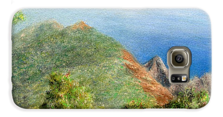Rainbow Colors Pastel Galaxy S6 Case featuring the painting Kalalau View by Kenneth Grzesik
