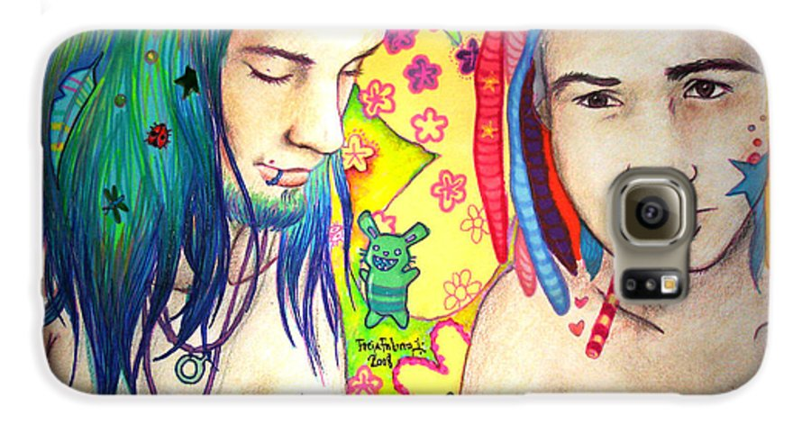 Colours Galaxy S6 Case featuring the drawing Kamil And Louis by Freja Friborg