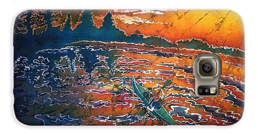 Kayak Galaxy S6 Case featuring the painting Kayaking Serenity - Bordered by Sue Duda