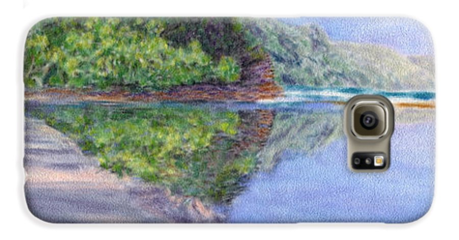 Rainbow Colors Pastel Galaxy S6 Case featuring the painting Ke' E Beach In May by Kenneth Grzesik