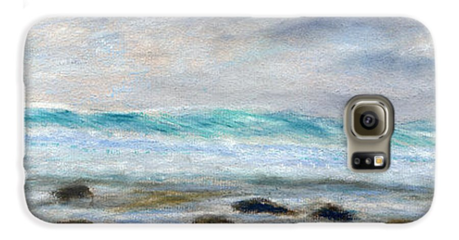Rainbow Colors Pastel Galaxy S6 Case featuring the painting Ke' E Wave by Kenneth Grzesik