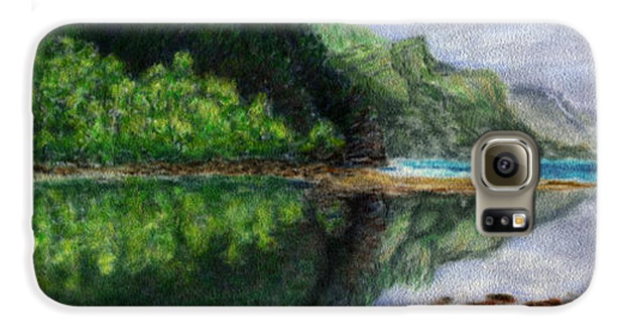 Rainbow Colors Pastel Galaxy S6 Case featuring the painting Ke'e by Kenneth Grzesik