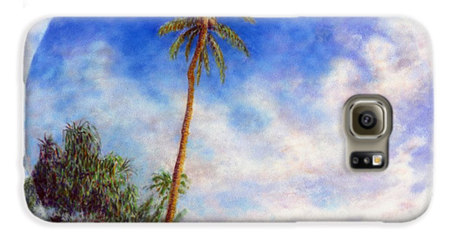 Rainbow Colors Pastel Galaxy S6 Case featuring the painting Ke'e Palm by Kenneth Grzesik
