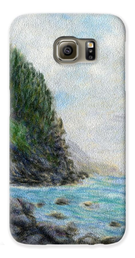 Rainbow Colors Pastel Galaxy S6 Case featuring the painting Ke'e Rocks by Kenneth Grzesik