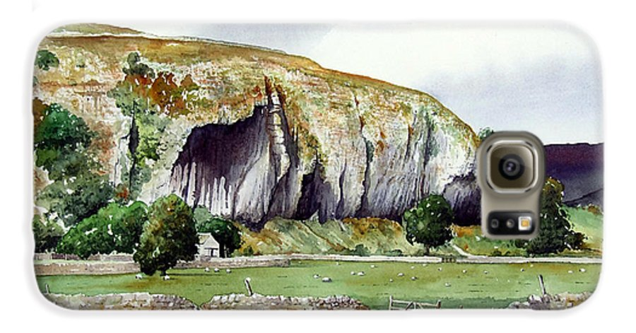 Landscape Galaxy S6 Case featuring the painting Kilnsey Crag by Paul Dene Marlor