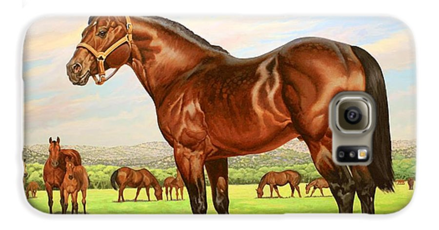 Quarter Horse Galaxy S6 Case featuring the painting King P-234 No.two by Howard Dubois