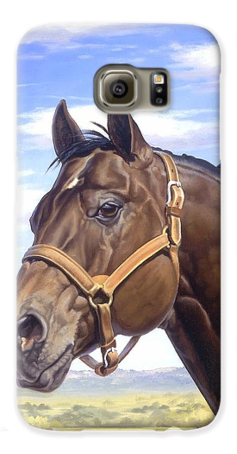 Quarter Horse Galaxy S6 Case featuring the painting King P234 by Howard Dubois
