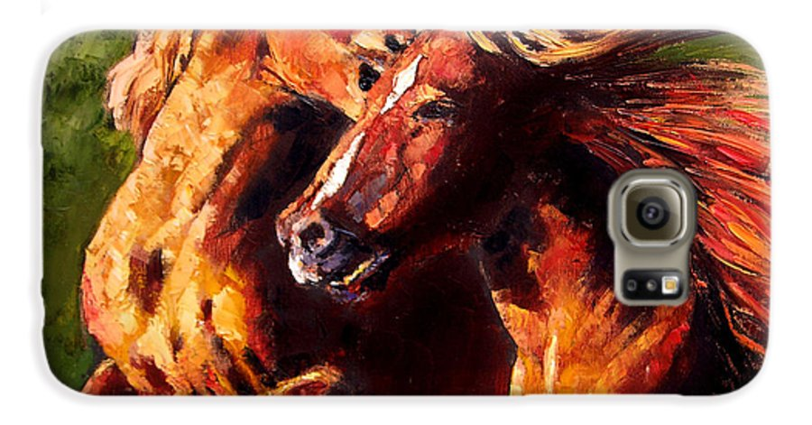 Horses Running Galaxy S6 Case featuring the painting Kiss On The Run by John Lautermilch