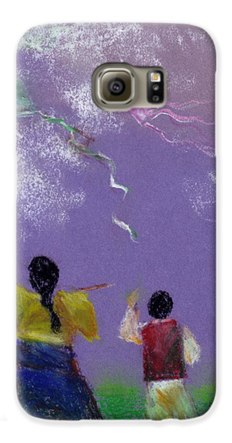 Flying Kite In A Sunny Day-oil Pastel Galaxy S6 Case featuring the drawing Kite Flying by Mui-Joo Wee