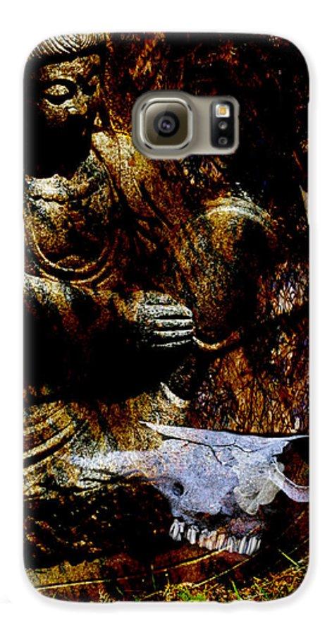 Kwan Yin Galaxy S6 Case featuring the mixed media Kwan Yin Meditates by Ann Tracy