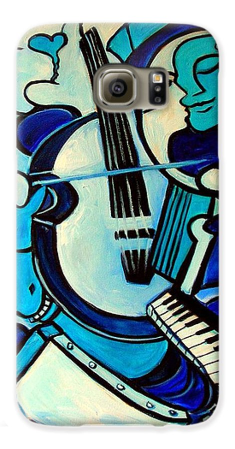Abstract Galaxy S6 Case featuring the painting L Amour Ou Quoi by Valerie Vescovi