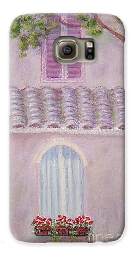 Window Boxes Galaxy S6 Case featuring the painting La Casa Rosa Lunga Il Treve by Mary Erbert
