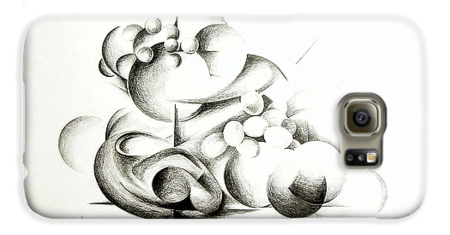 Abstract Galaxy S6 Case featuring the drawing La Guerre Des Bulles by Muriel Dolemieux