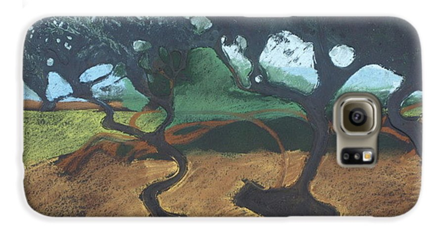 Contemporary Tree Landscape Galaxy S6 Case featuring the drawing La Jolla I by Leah Tomaino