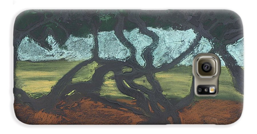 Contemporary Tree Landscape Galaxy S6 Case featuring the mixed media La Jolla II by Leah Tomaino