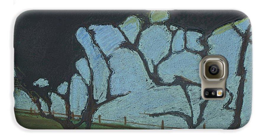 Contemporary Tree Landscape Galaxy S6 Case featuring the mixed media La Jolla IIi by Leah Tomaino
