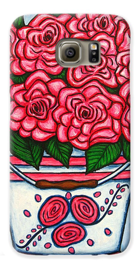 Rose Galaxy S6 Case featuring the painting La Vie En Rose by Lisa Lorenz