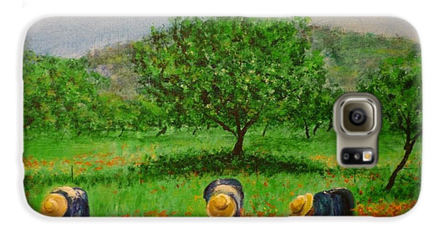 Club Diario De Ibiza Galaxy S6 Case featuring the painting Ladies In Poppy Fields Ibiza by Lizzy Forrester