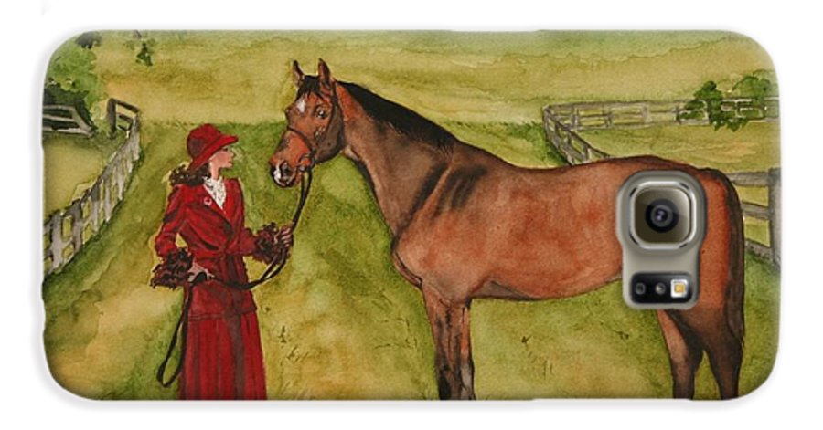 Horse Galaxy S6 Case featuring the painting Lady And Horse by Jean Blackmer