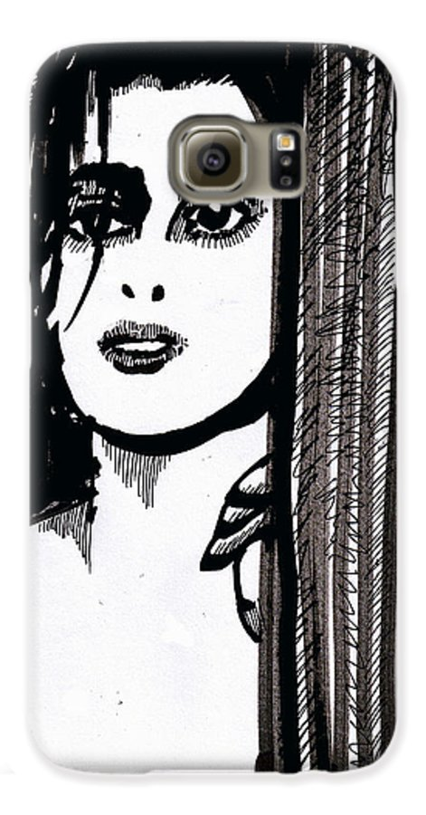 Sad Lady Galaxy S6 Case featuring the drawing Lady At The Door by Seth Weaver