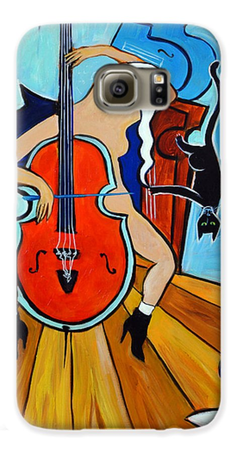 Musicians Galaxy S6 Case featuring the painting Lady In Red by Valerie Vescovi
