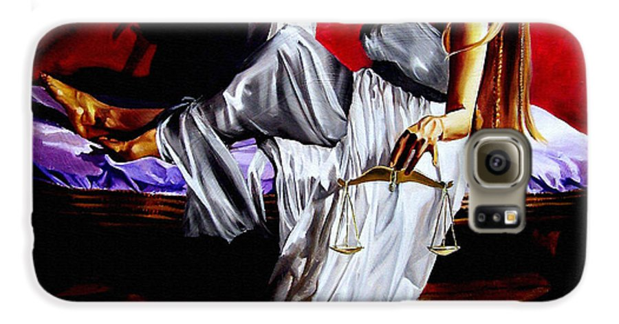 Law Galaxy S6 Case featuring the painting Lady Justice by Laura Pierre-Louis