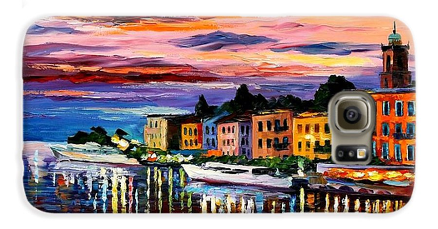 Cityscape Galaxy S6 Case featuring the painting Lake Como - Bellagio by Leonid Afremov