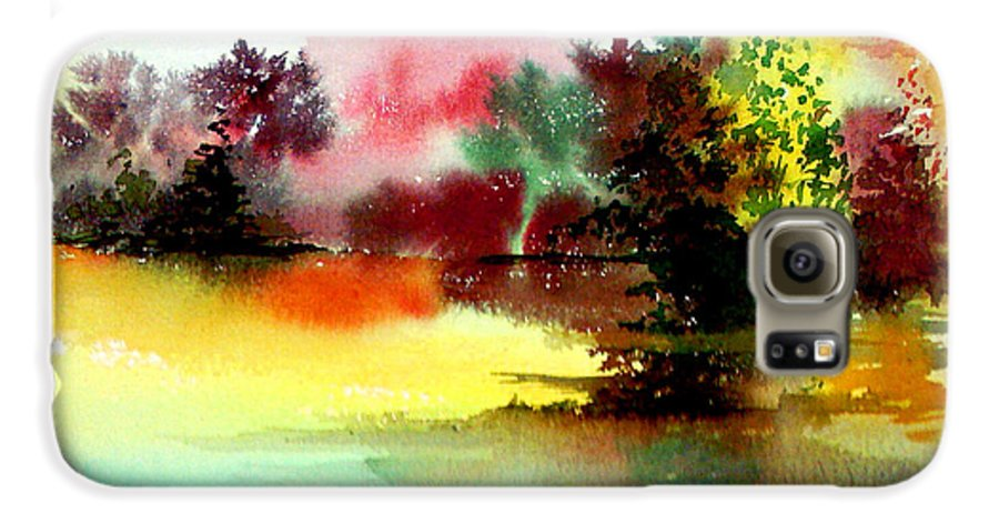 Nature Galaxy S6 Case featuring the painting Lake In Colours by Anil Nene